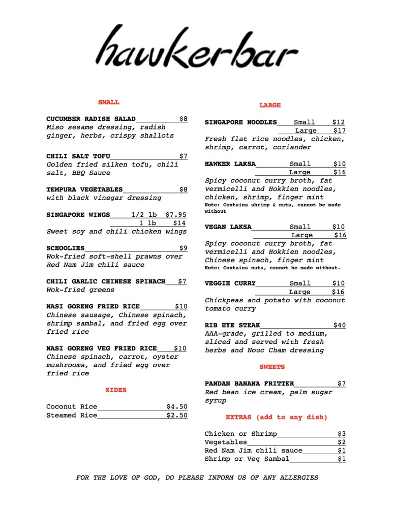 FEBRUARY 2018 Hawker Bar dinner menu
