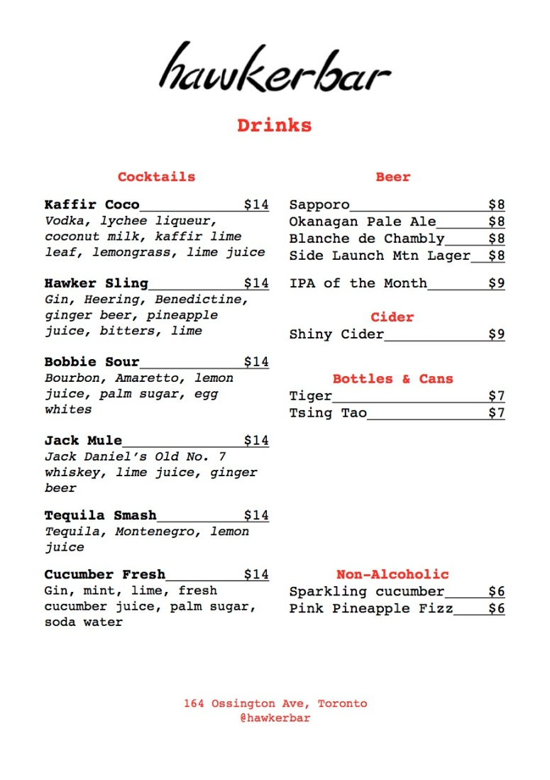 Hawker Bar April 2018 Cocktail and Beer Menu